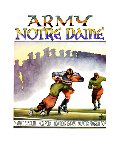 1935 Notre Dame Fighting Irish vs Army Black Knights 22x30 Canvas Historic Football Poster