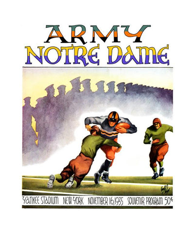 1935 Notre Dame Fighting Irish vs Army Black Knights 30x40 Canvas Historic Football Poster