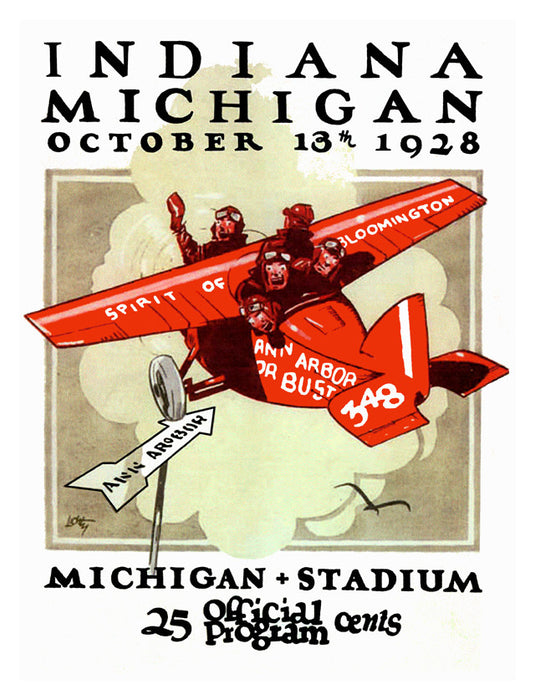 1928 Michigan Wolverines vs Indiana Hoosiers 22x30 Canvas Historic Football Print