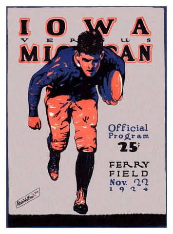 1924 Michigan Wolverines vs Iowa Hawkeyes 30x40 Canvas Historic Football Poster