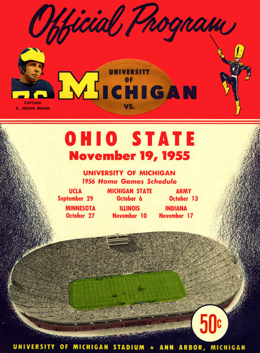 1955 Michigan Wolverines vs Ohio State Buckeyes 22x30 Canvas Historic Football Poster