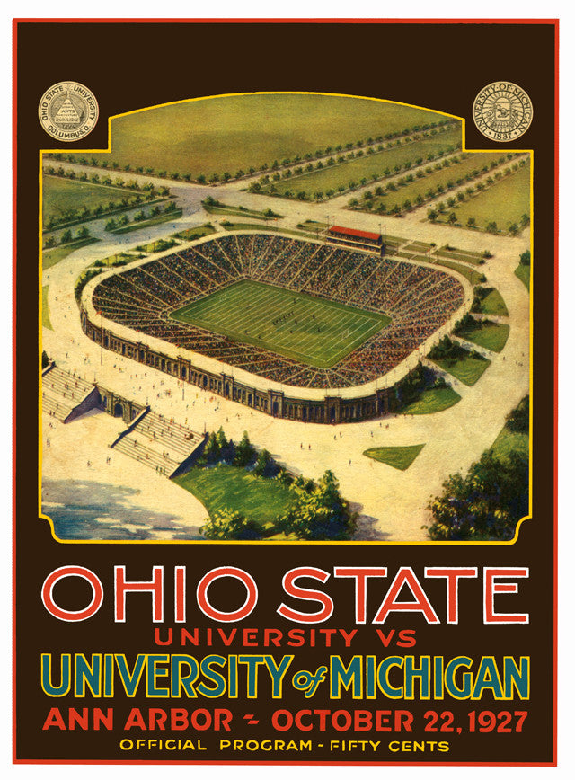 1927 Michigan Wolverines vs Ohio State Buckeyes 22x30 Canvas Historic Football Poster