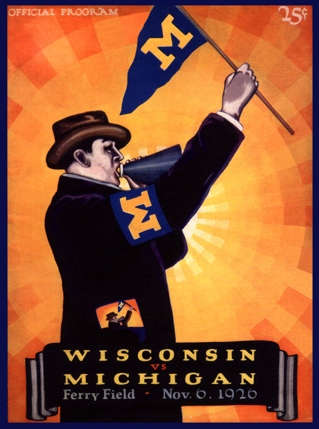 1926 Michigan Wolverines vs Wisconsin Badgers 22x30 Canvas Historic Football Poster