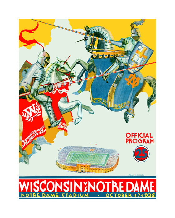 1936 Notre Dame Fighting Irish vs Wisconsin Badgers 22x30 Canvas Historic Football Poster