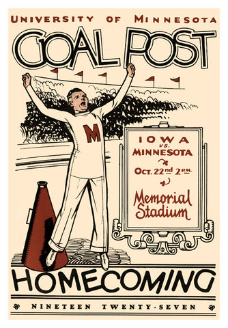 1927 Minnesota Golden Gophers vs Iowa Hawkeyes 22x30 Canvas Historic Football Poster