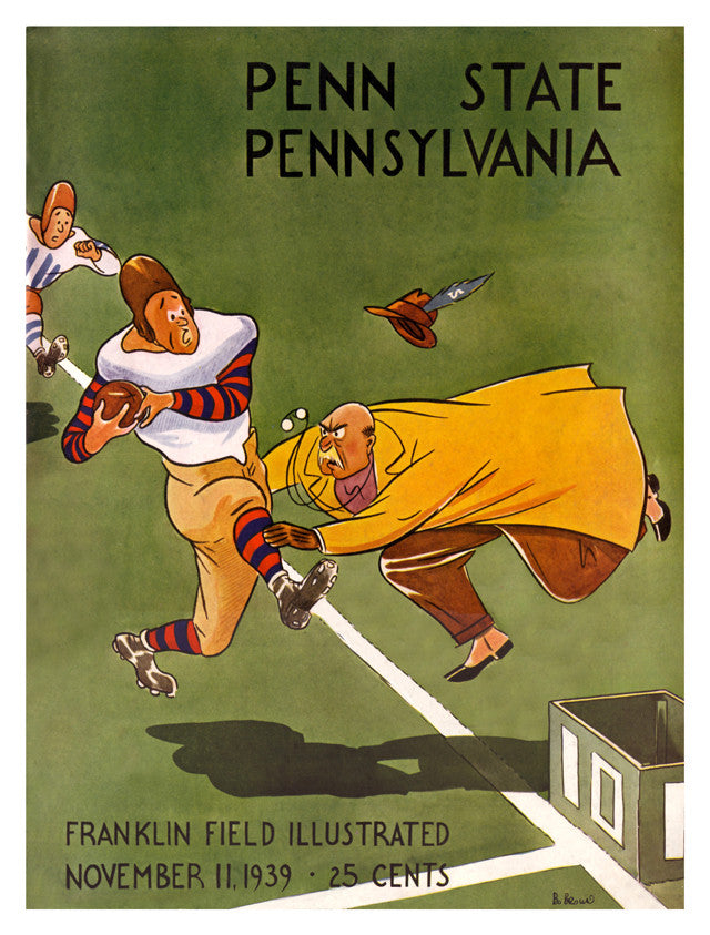1939 Penn Quakers vs Penn State Nittany Lions 22x30 Canvas Historic Football Poster