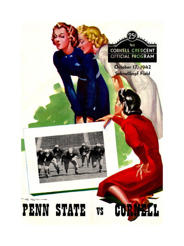 1942 Cornell Big Red vs Penn State Nittany Lions 22x30 Canvas Historic Football Poster