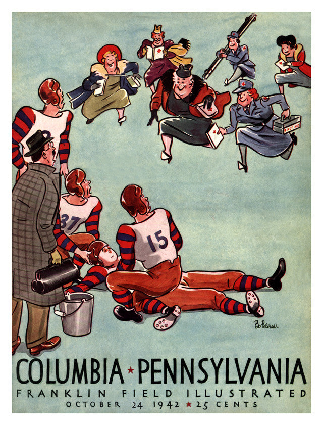 1942 Penn Quakers vs Columbia Lions 22x30 Canvas Historic Football Poster