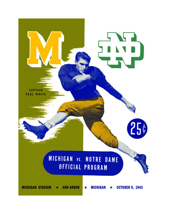 1943 Michigan Wolverines vs Notre Dame Fighting Irish 22x30 Canvas Historic Football Poster