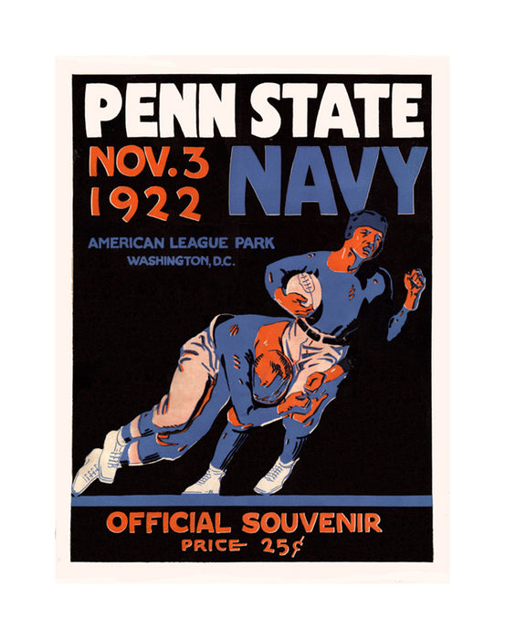 1922 Navy Midshipmen vs Penn State Nittany Lions 22x30 Canvas Historic Football Poster