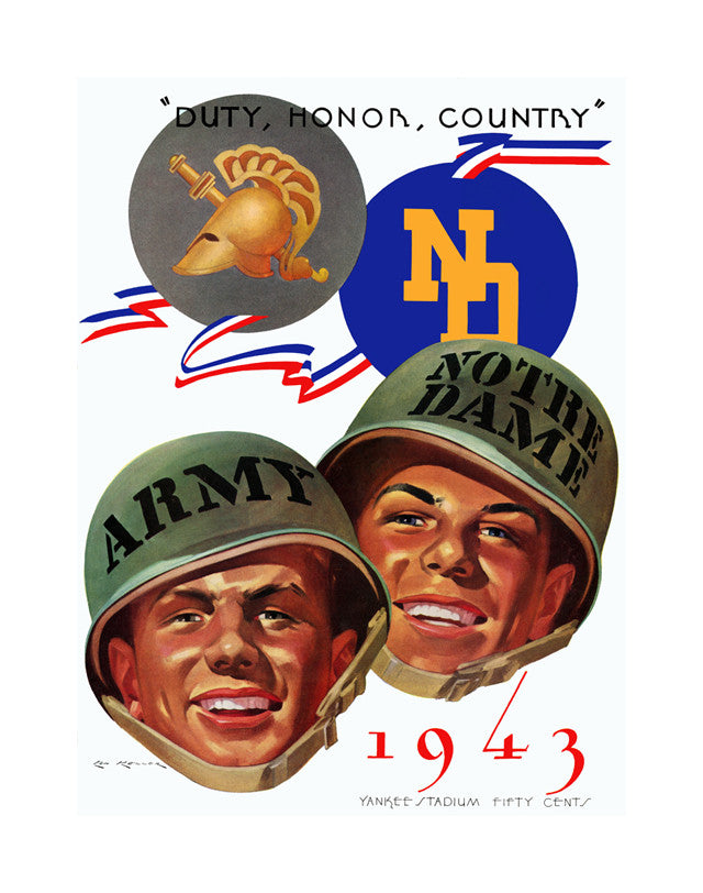 1943 Army Black Knights vs Notre Dame Fighting Irish 22x30 Canvas Historic Football Poster