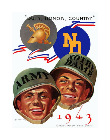 1943 Army Black Knights vs Notre Dame Fighting Irish 30x40 Canvas Historic Football Poster