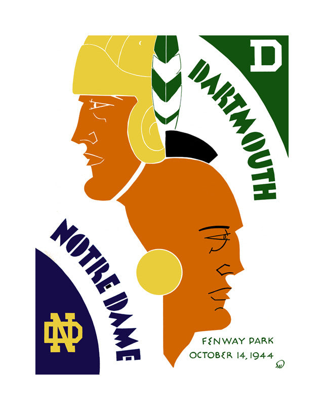 1944 Dartmouth Big Green vs Notre Dame Fighting Irish 22x30 Canvas Historic Football Poster