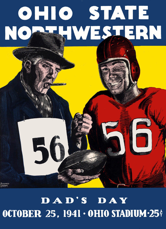 1941 Ohio State Buckeyes vs Northwestern Wildcats 22x30 Canvas Historic Football Poster