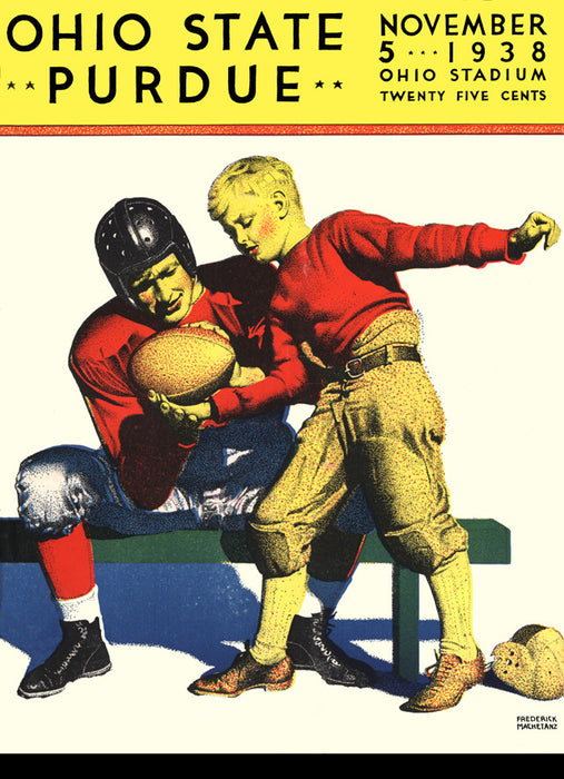 1938 Ohio State Buckeyes vs Purdue Boilermakers 22x30 Canvas Historic Football Poster