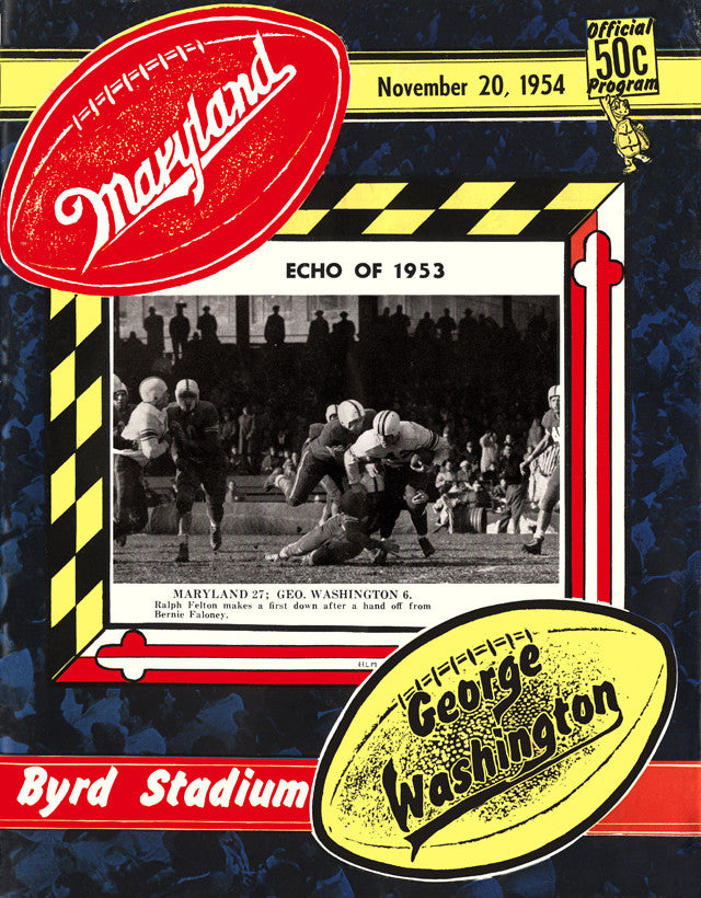 1954 Maryland Terrapins vs George Washington 22x30 Canvas Historic Football Poster