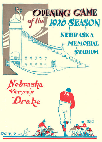 1926 Nebraska Cornhuskers 22x30 Canvas Historic Football Poster