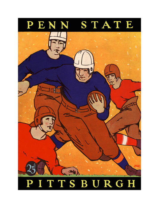 1927 Pittsburgh Panthers vs Penn State Nittany Lions 22x30 Canvas Historic Football Poster