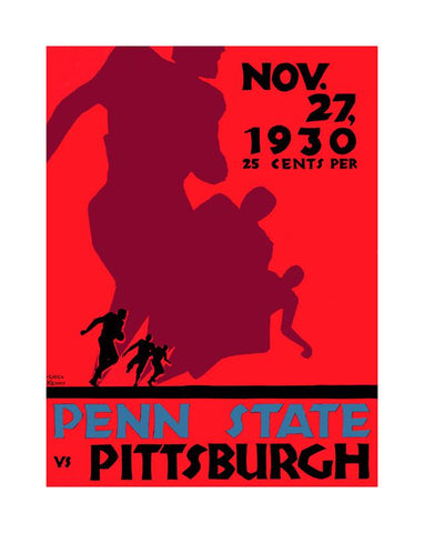 1930 Pittsburgh Panthers vs Penn State Nittany Lions 30x40 Canvas Historic Football Poster