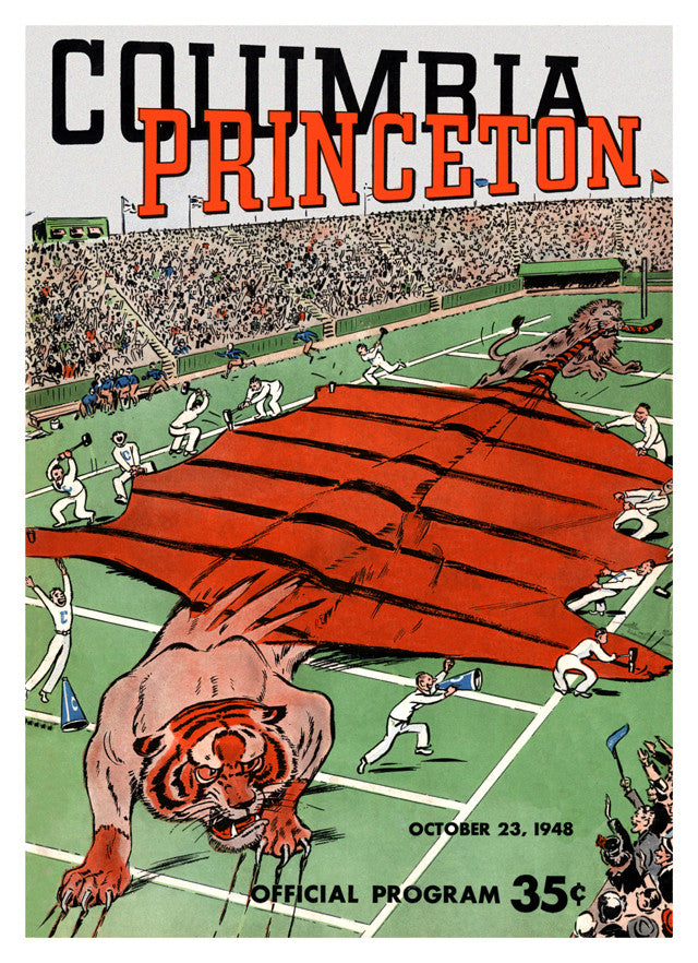 1948 Columbia Lions vs Princeton Tigers 22x30 Canvas Historic Football Poster