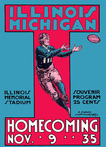 1935 Michigan Wolverines vs Illinois Fighting Illini 30x40 Canvas Historic Football Poster