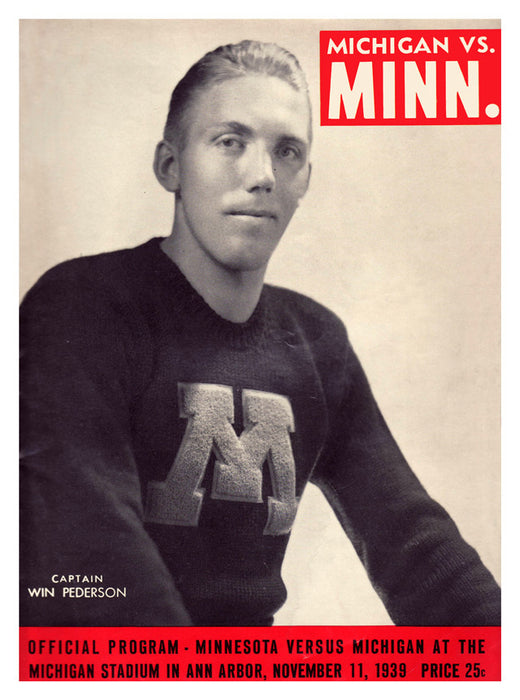 1939 Michigan Wolverines vs Minnesota Golden Gophers 22x30 Canvas Historic Football Print
