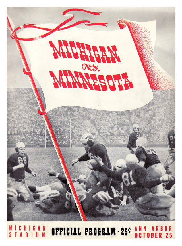 1941 Michigan Wolverines vs Minnesota Golden Gophers 22x30 Canvas Historic Football Print