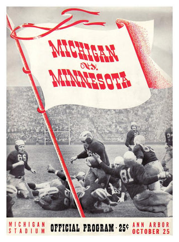 1941 Michigan Wolverines vs Minnesota Golden Gophers 30x40 Canvas Historic Football Print