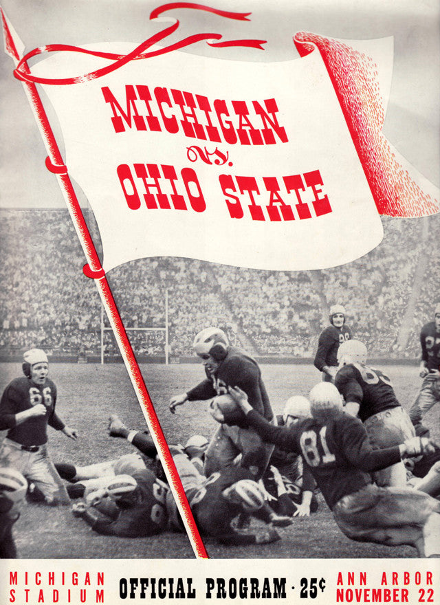 1941 Michigan Wolverines vs Ohio State Buckeyes 22x30 Canvas Historic Football Poster