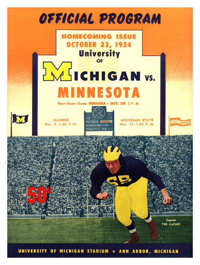 1954 Michigan Wolverines vs Minnesota Golden Gophers 22x30 Canvas Historic Football Print