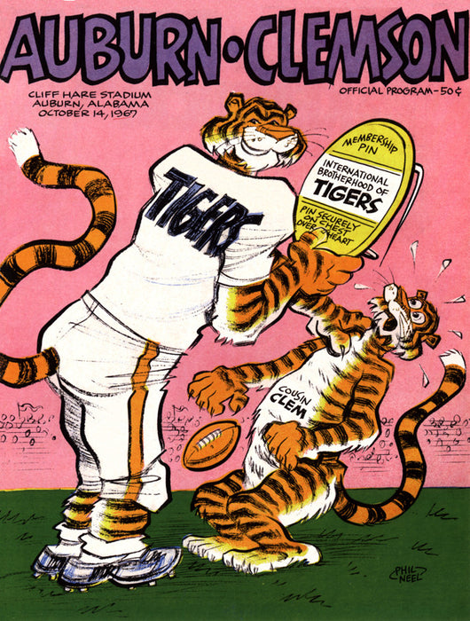 1967 Auburn Tigers vs Clemson Tigers 22x30 Canvas Historic Football Poster