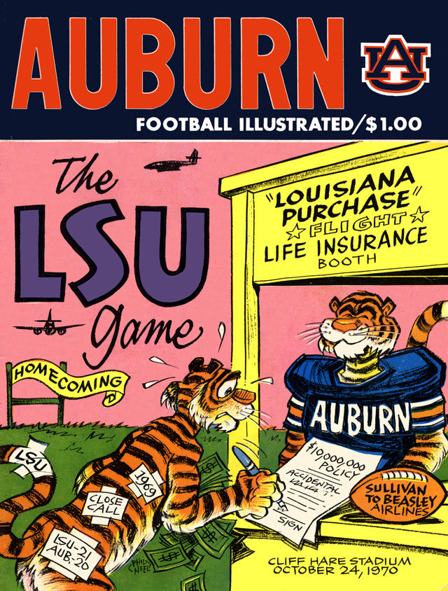 1970 Auburn Tigers vs LSU Tigers 22x30 Canvas Historic Football Poster