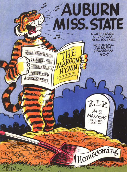 1962 Auburn Tigers vs Mississippi State 22x30 Canvas Historic Football Poster