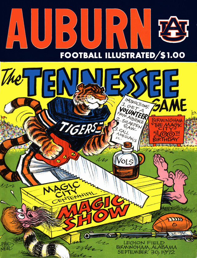 1972 Auburn Tigers vs Tennessee Volunteers 22x30 Canvas Historic Football Poster