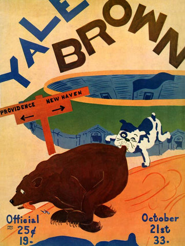 1933 Yale Bulldogs vs Brown Bears 30x40 Canvas Historic Football Poster