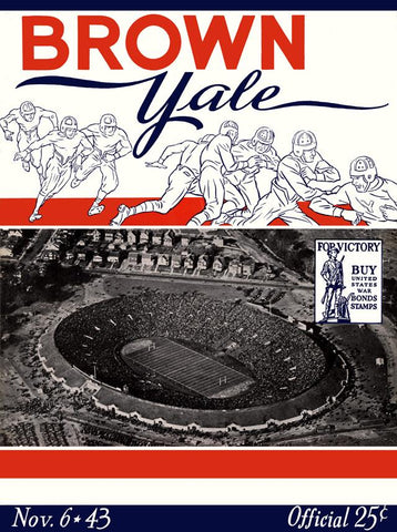 1943 Yale Bulldogs vs Brown Bears 30x40 Canvas Historic Football Poster