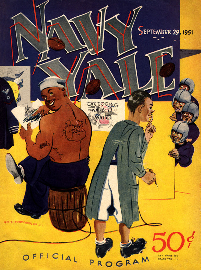 1951 Yale Bulldogs vs Navy Midshipmen 22x30 Canvas Historic Football Poster