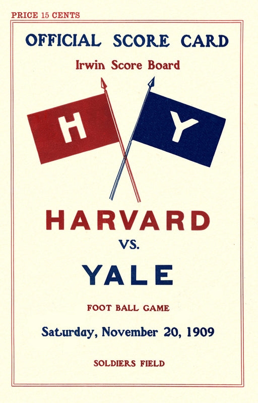 1909 Harvard Crimson vs Yale Bulldogs 22x30 Canvas Historic Football Poster