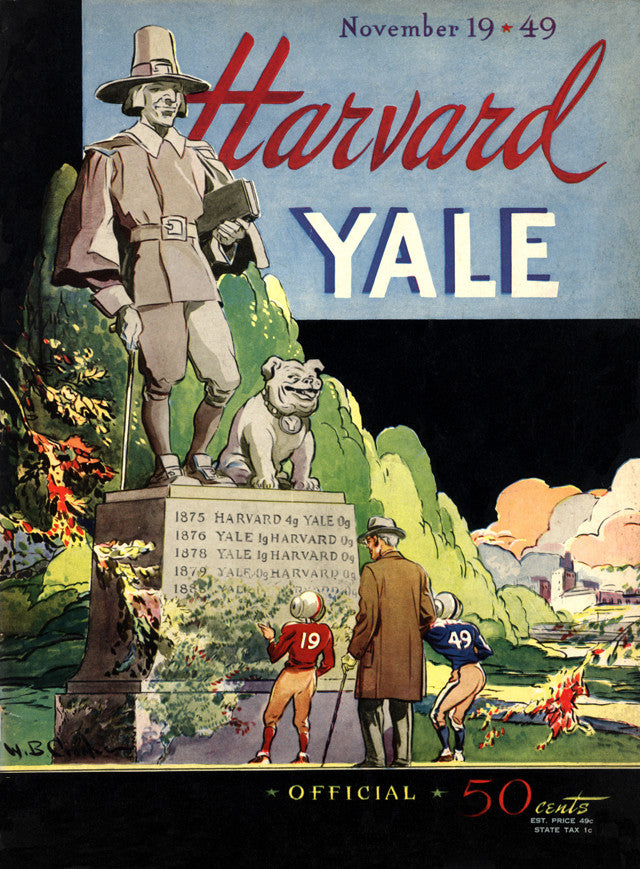 1949 Yale Bulldogs vs Harvard Crimson 22x30 Canvas Historic Football Poster