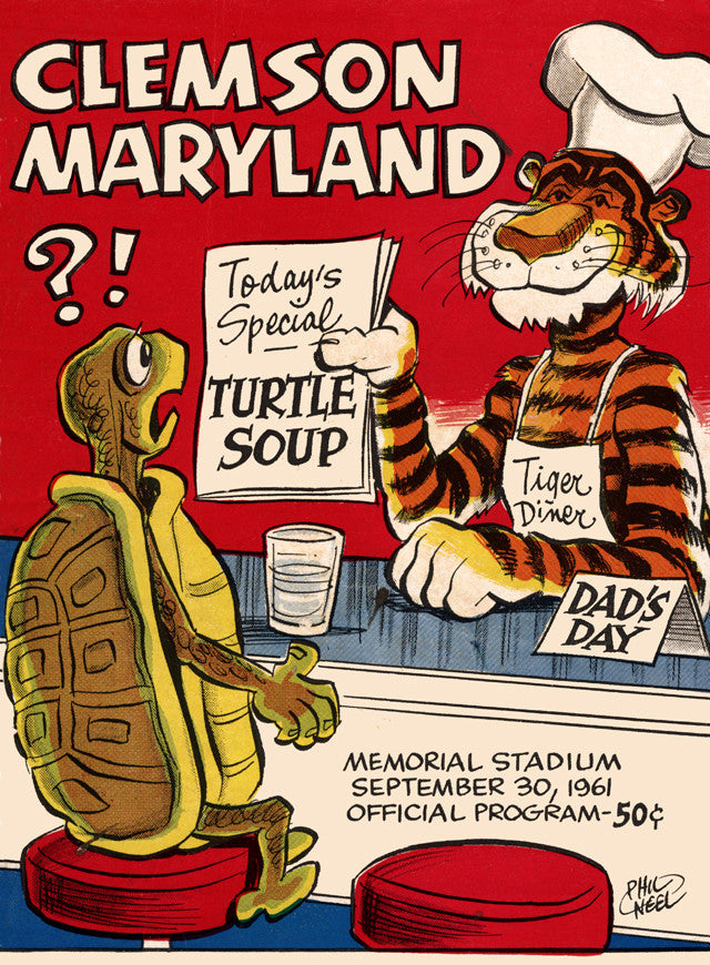 1961 Clemson Tigers vs Maryland Terrapins 22x30 Canvas Historic Football Poster