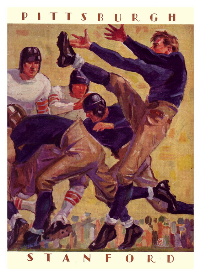 1928 Stanford Cardinal vs Pittsburgh Panthers 22x30 Canvas Historic Football Poster