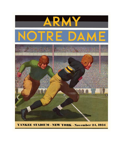 1934 Army Black Knights vs Notre Dame Fighting Irish 30x40 Canvas Historic Football Poster