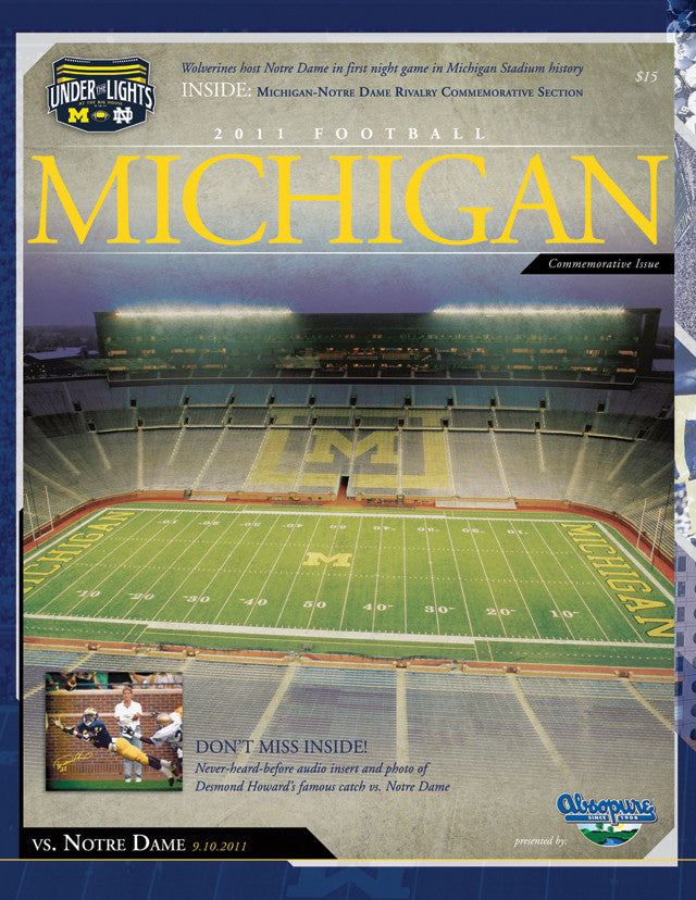 2011 Notre Dame Fighting Irish vs Michigan Wolverines 1st Night Game 22x30 Canvas Historic Football Poster