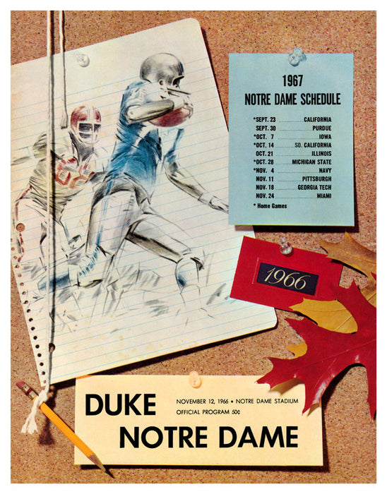1966 Notre Dame Fighting Irish vs Duke Blue Devils 22x30 Canvas Historic Football Poster