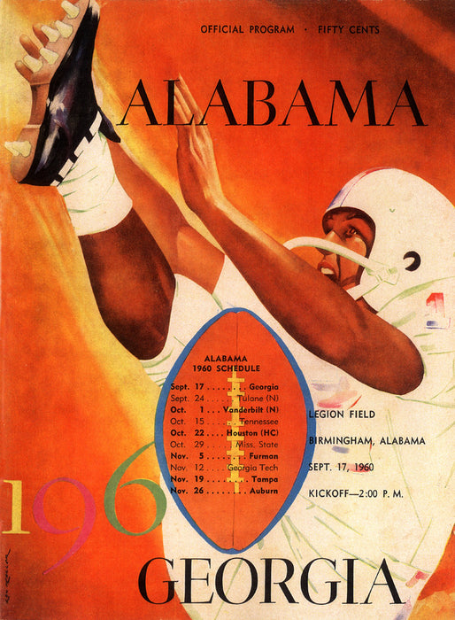 1960 Alabama Crimson Tide vs Georgia Bulldogs  36 x 48 Canvas Historic Football Poster