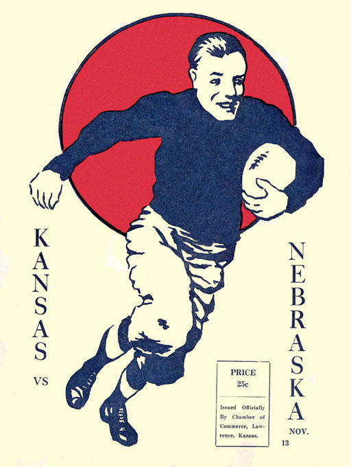 1920 Kansas Jayhawks vs Nebraska Cornhuskers 36 x 48 Canvas Historic Football Poster