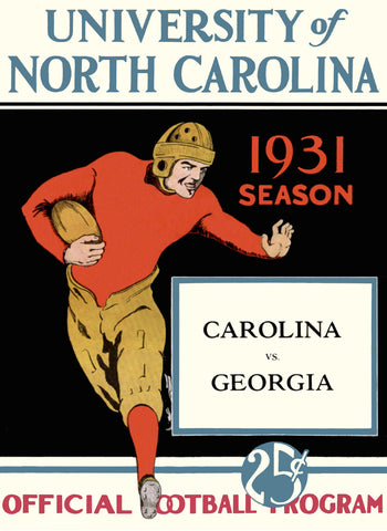 1931 North Carolina Tar Heels vs Georgia Bulldogs 36 x 48 Canvas Historic Football Poster
