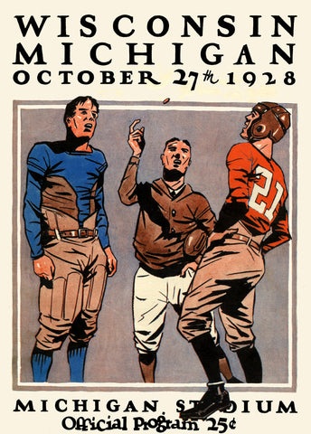 1928 Michigan Wolverines vs Wisconsin Badgers 36 x 48 Canvas Historic Football Poster