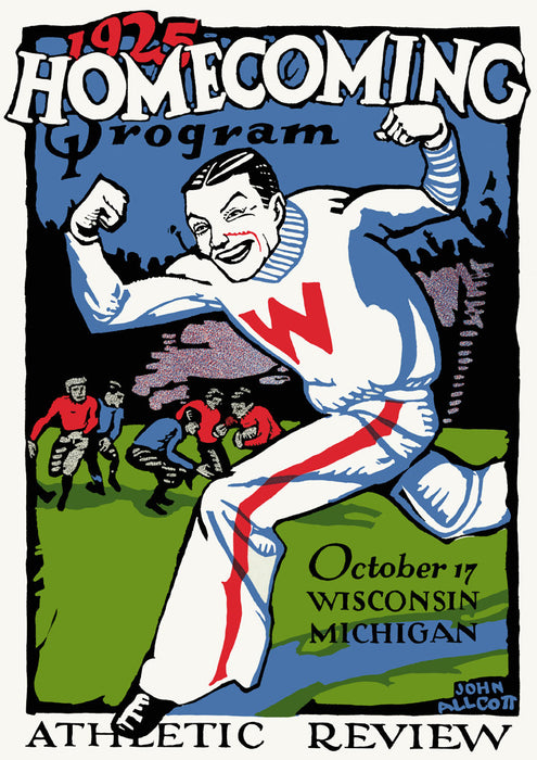 1925 Wisconsin Badgers vs Michigan Wolverines 36 x 48 Canvas Historic Football Poster
