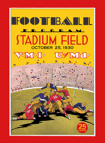 1930 Maryland Terrapins  36 x 48 Canvas Historic Football Poster